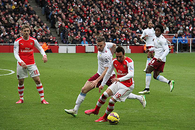 Description: Santi Cazorla on the ball 1 by Ronnie Macdonald, on Flickr